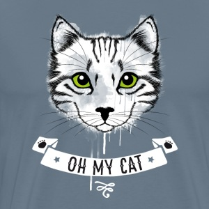 Cat oh_my_cat green eyes face white striped - Men's Premium T-Shirt
