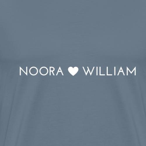 HVIT NOORA + WILLIAM - Premium T-skjorte for menn