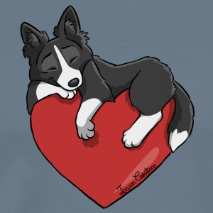 Border Collie Black Heart - Men's Premium T-Shirt