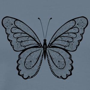 Butterfly in black hand drawn, - Men's Premium T-Shirt