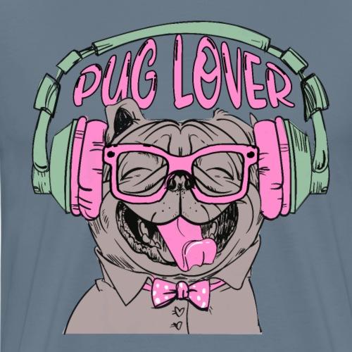 Glücklicher Mops Liebhaber mit Kopfhörer Pug lover