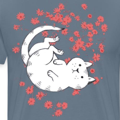 Katze mit roten Blumen - Männer Premium T-Shirt