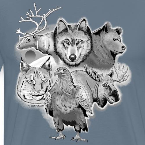 Susi, poro, karhu, ilves, kotka, hirvi tuotteet - Miesten premium t-paita