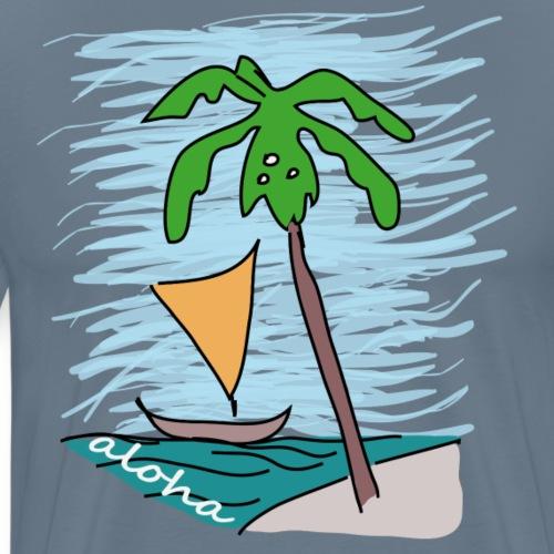 Palme - Boot - Hawaii - Meer - Männer Premium T-Shirt