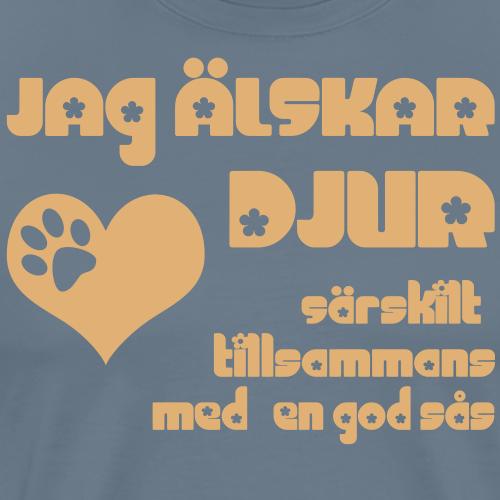 Jag älskar djur - Premium-T-shirt herr