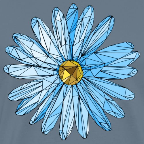 Blume blau dreieck polygon art - Männer Premium T-Shirt