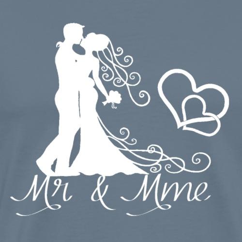 Mr & Mme - Couple romantique silhouette blanche - T-shirt Premium Homme