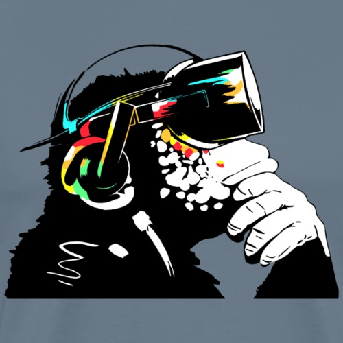 Monksy - Monkey with Virtual Reality goggles - Mannen Premium T-shirt
