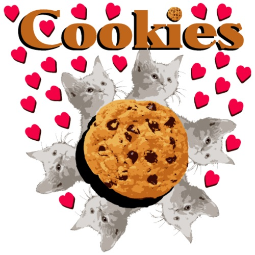 Cookies and cat biscuits cats heart cat head - Men's Premium T-Shirt