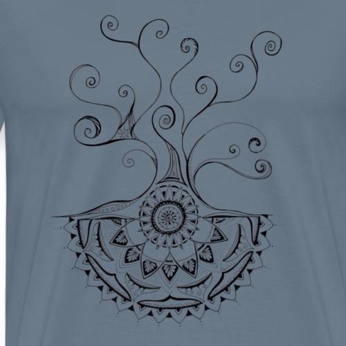 Mandala Baum schwarz, handgemalt - Männer Premium T-Shirt