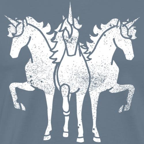 Einhorn Troika Weiss grunge lustig Geschenkidee - Männer Premium T-Shirt
