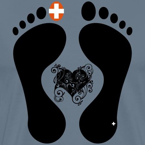 Barfuss-Logo mit komplizierter Herzgrafik - Männer Premium T-Shirt