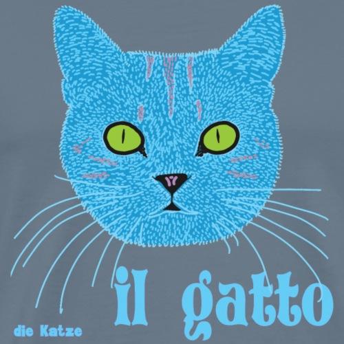 Blauer Katzenkopf auf Italienisch/ Deutsch - Männer Premium T-Shirt