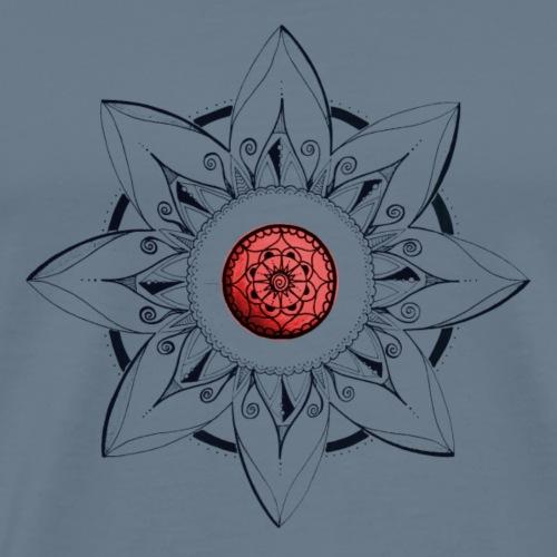 Mandala Blume schwarz, rote Mitte - Männer Premium T-Shirt
