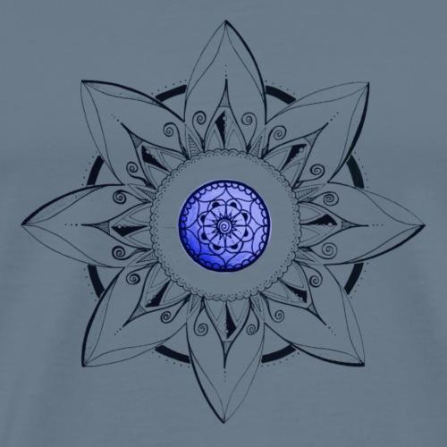 Mandala Blume schwarz mit Mitte blau - Männer Premium T-Shirt