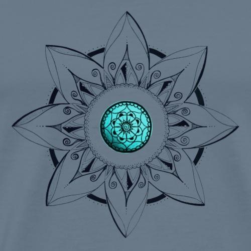 Mandala Blume schwarz mit Mitte türkis - Männer Premium T-Shirt
