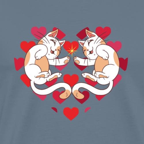 Katze Liebe Herze - Men's Premium T-Shirt