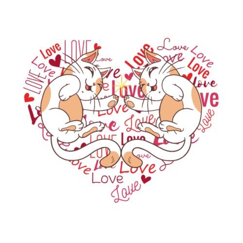 Cat Love Hearts Kitten Cat Cats Babys Love - Men's Premium T-Shirt