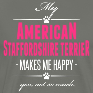 My American Staffordshire Terrier makes me happy - Men's Premium T-Shirt