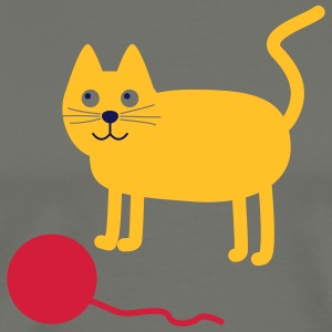 Cat with Wollknäul - Men's Premium T-Shirt