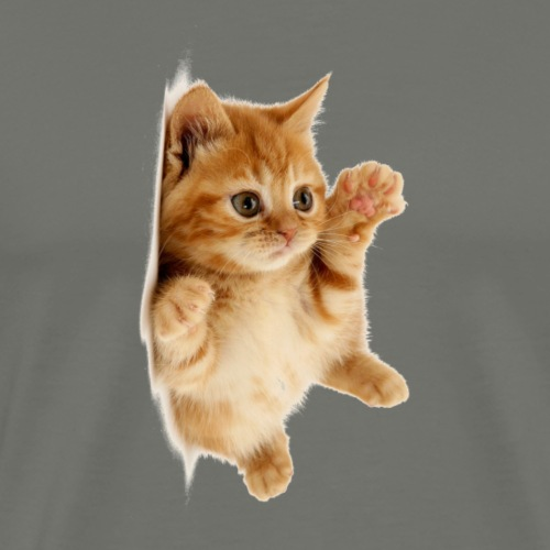 süßes Kätzchen das seitlich liegt - Männer Premium T-Shirt