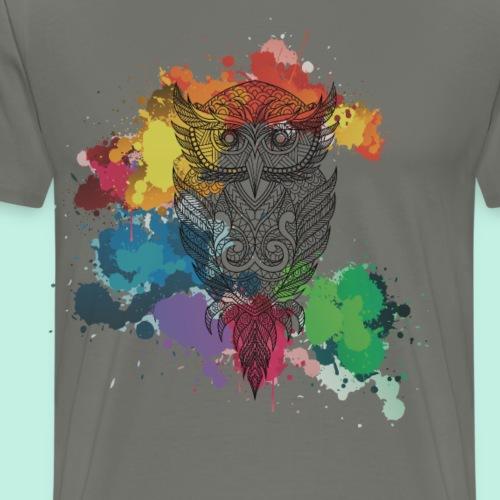 Eule Wasserfarben knallige Kunst - Männer Premium T-Shirt