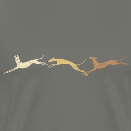 3 springende braune Windhunde