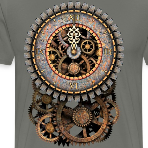 Vintage Steampunk Clock and Gears - Men's Premium T-Shirt