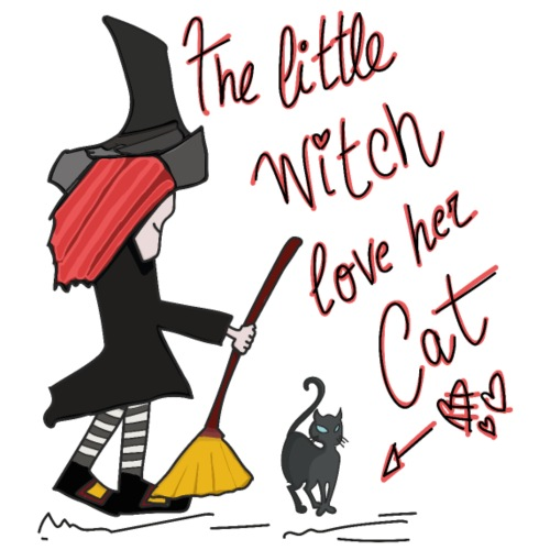 The Little Witch Loves her Cat - Camiseta premium hombre