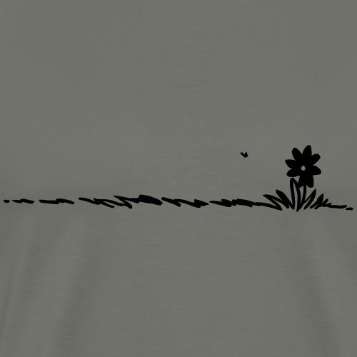 Cartoon Flower on grass - Men's Premium T-Shirt