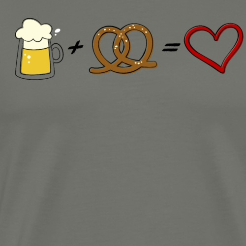 pretzel + beer = love - Men's Premium T-Shirt