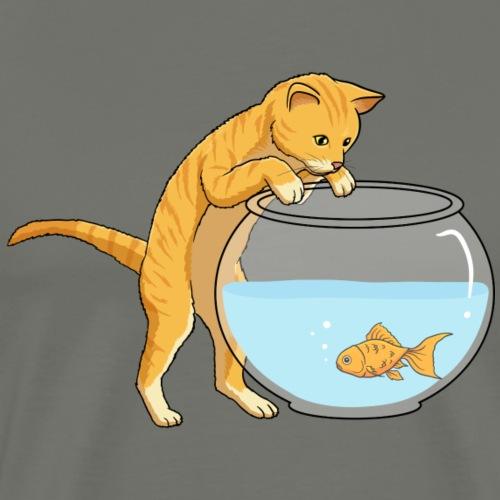 Cat Ginger Fish Bowl - Men's Premium T-Shirt