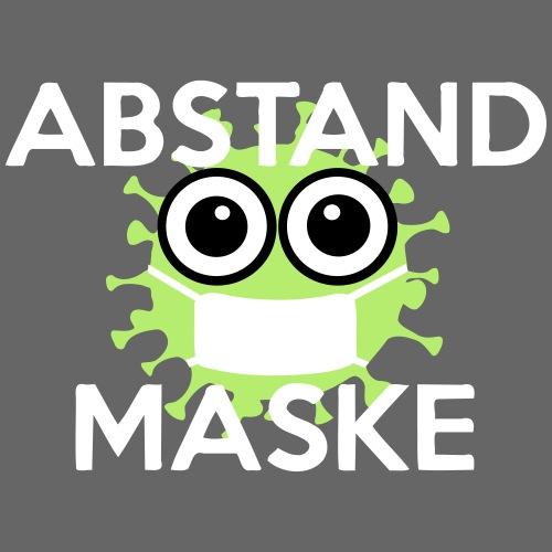 Mit Abstand und Maske gegen CORONA Virus- weiss