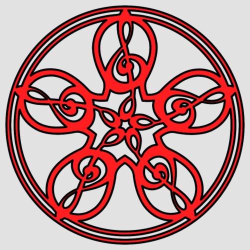 Treble Clef Mandala (red/black outline) - Men's Premium T-Shirt