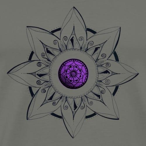 Mandala Blume schwarz mit Mitte lila - Männer Premium T-Shirt