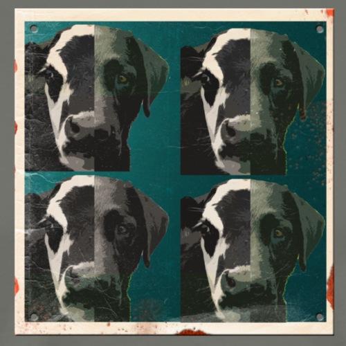 cow to dog retro porcelain sign - vintage rusted - Men's Premium T-Shirt