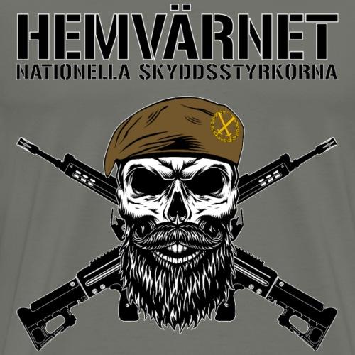 Hemvärnet Korslagda Ak 4C + SWE flag - Premium-T-shirt herr