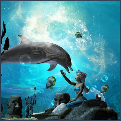 Maravillosa sirena jugando con lindo delfín - Camiseta premium hombre
