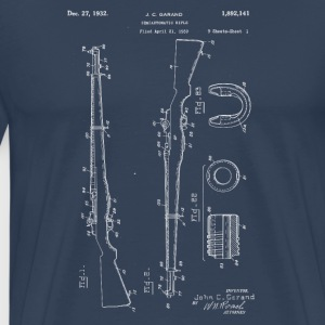 M1 Rifle Garand .30 cal blueprints vintage 1932 - Premium T-skjorte for menn