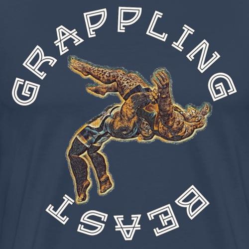 GRAPPLING BEAST (APE VS JAGUAR) NAVY - Men's Premium T-Shirt
