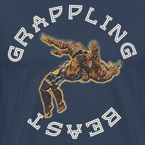 GRAPPLING BEAST (APE VS JAGUAR) NAVY - Men's Premium T-Shirt