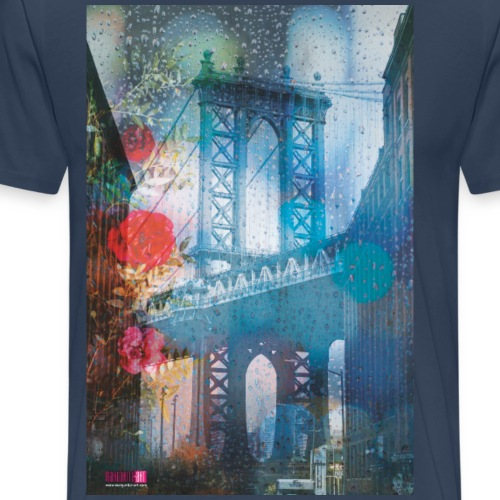 02 MANHATTAN BRIDGE im Regen Poster Margarita Art - Männer Premium T-Shirt