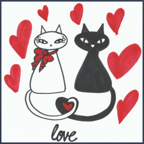 Gatos enamorados - Camiseta premium hombre