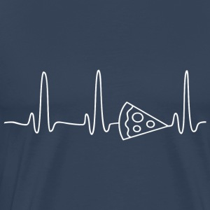 ECG HEART LINE PIZZA white - Men's Premium T-Shirt