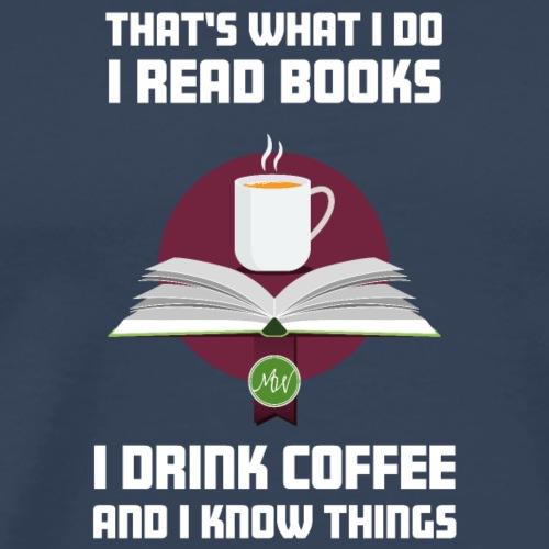 Buch und Kaffee, hell - Männer Premium T-Shirt