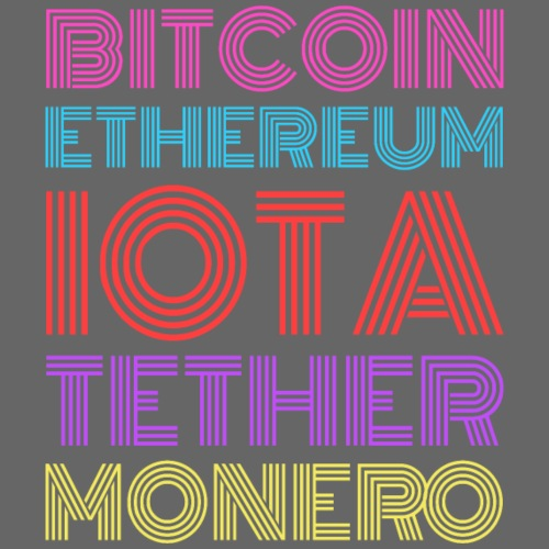 Retro Crypto | Bitcoin, Ethereum, IOTA, Tether - Männer Premium T-Shirt