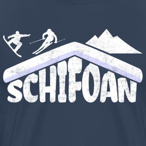 Schifoan Skifahrer Snowboard Berghütte Typographie - Männer Premium T-Shirt
