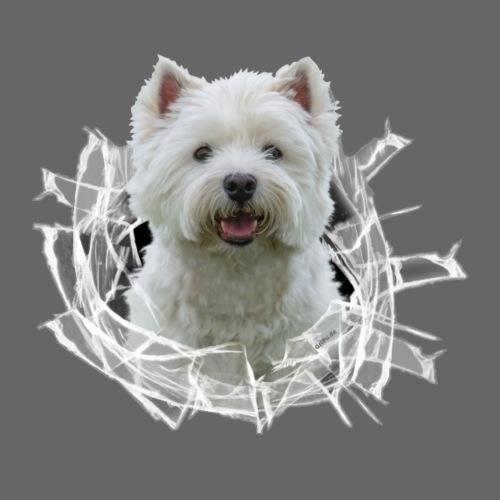 West Highland Terrier im Glasloch - Männer Premium T-Shirt