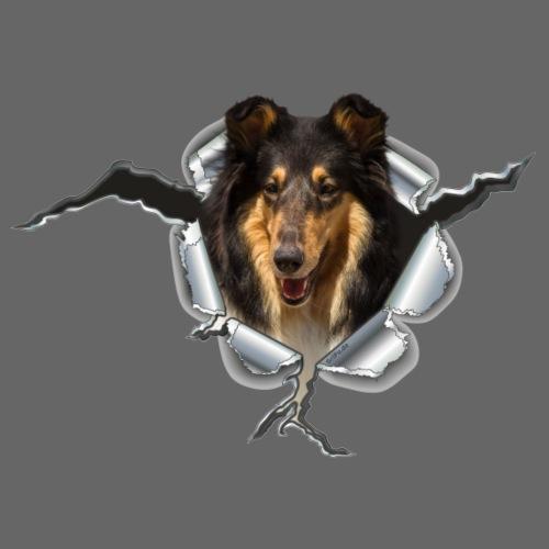 Collie Blue Merle im Metall-Loch - Männer Premium T-Shirt