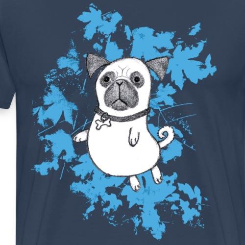 Mops mit blauen Blättern - Männer Premium T-Shirt